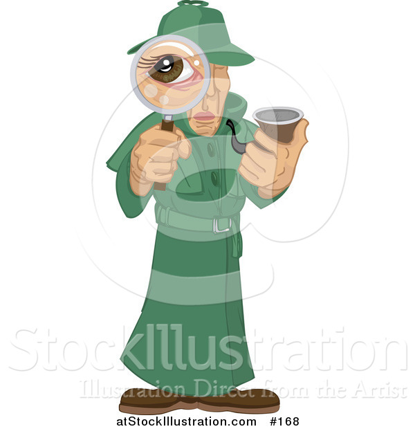 Vector Illustration of a Male Private Investigator Spy in a Green Trench Coat, Smoking a Tobacco Pipe and Looking Through a Magnifying Glass
