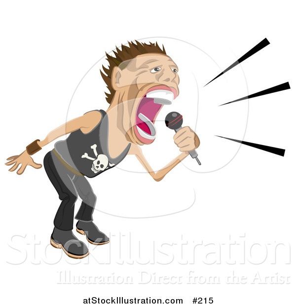 Vector Illustration of a Male Rock Star Vocalist Singing and Performing During a Concert