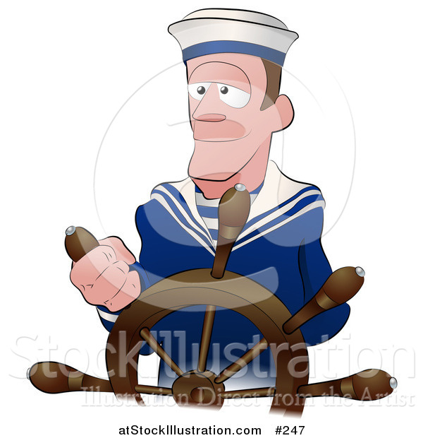Vector Illustration of a Male Ship Captain at the Helm