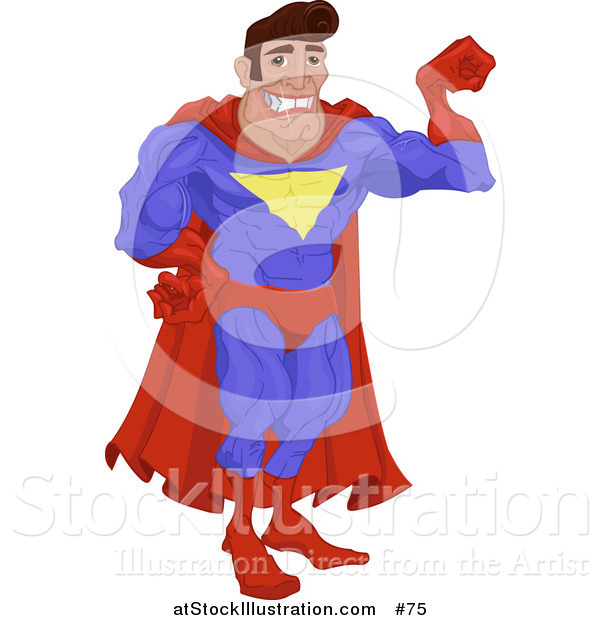 Vector Illustration of a Man in a Red and Blue Super Hero Costume, Smiling and Flexing His Arm Muscle