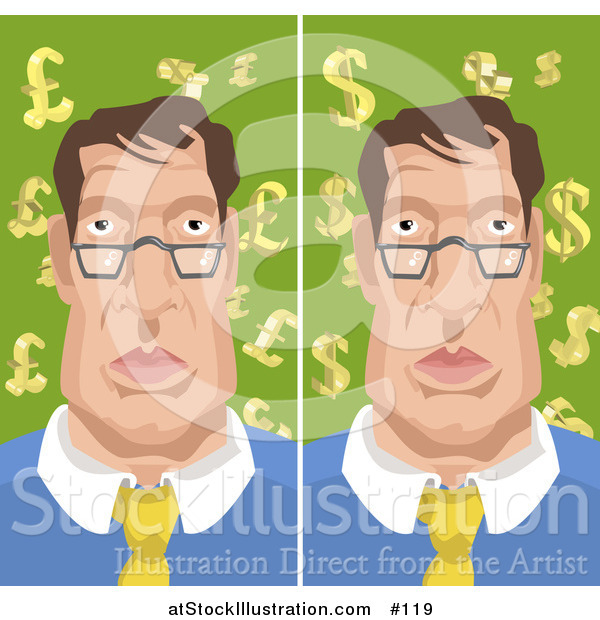 Vector Illustration of a Man with Backgrounds of Euro Pounds and Dollars