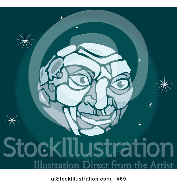 Vector Illustration of a Man's Face on the Moon in Outer Space