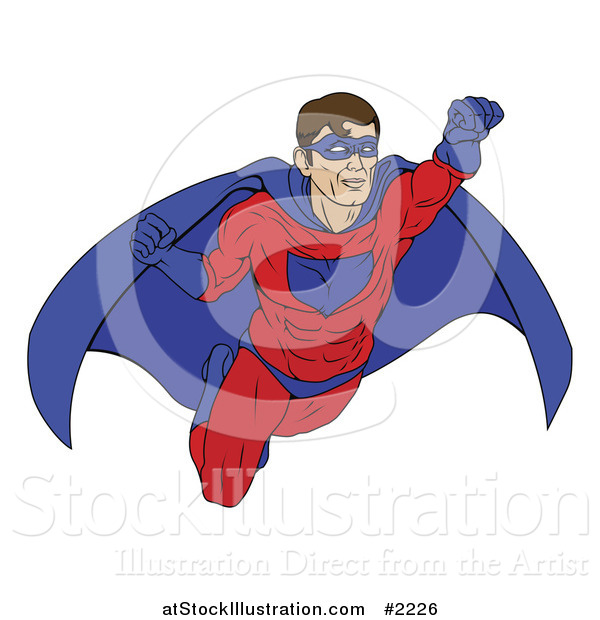 Vector Illustration of a Masked Super Hero in Flight