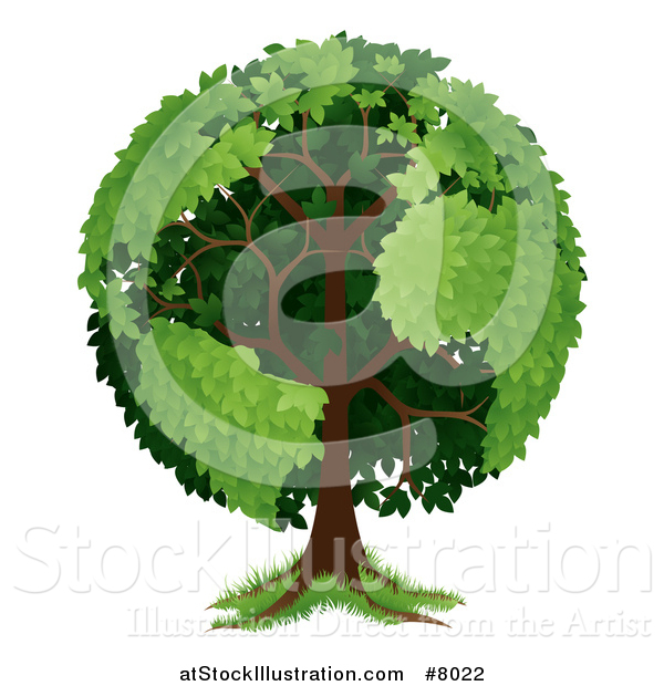 Vector Illustration of a Mature Tree with Planet Earth Shaped Continents