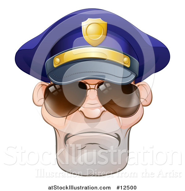 Vector Illustration of a Mean White Male Police Officer Wearing Sunglasses