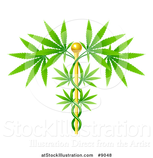 Vector Illustration of a Medical Marijuana Design with a Cannabis Plant Growing on a Gold Caduceus
