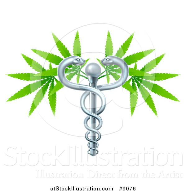 Vector Illustration of a Medical Marijuana Design with a Cannabis Plant Growing on a Silver Snake Caduceus