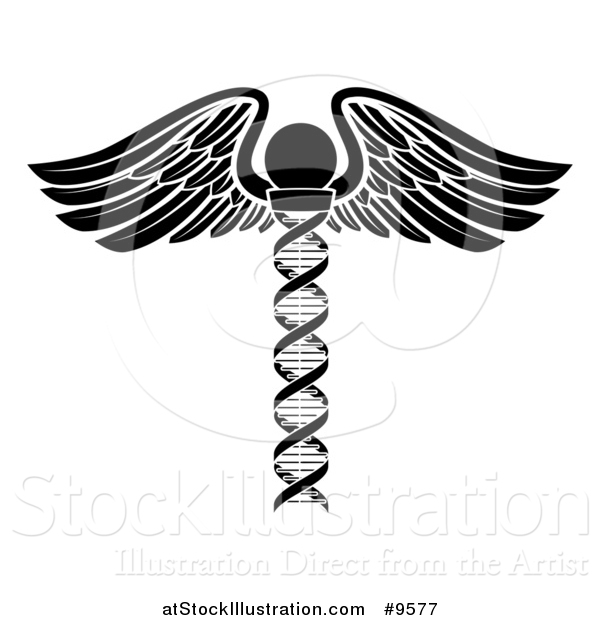 Vector Illustration of a Medical Symbol: Winged DNA Strand Rod Caduceus - White and Black Version