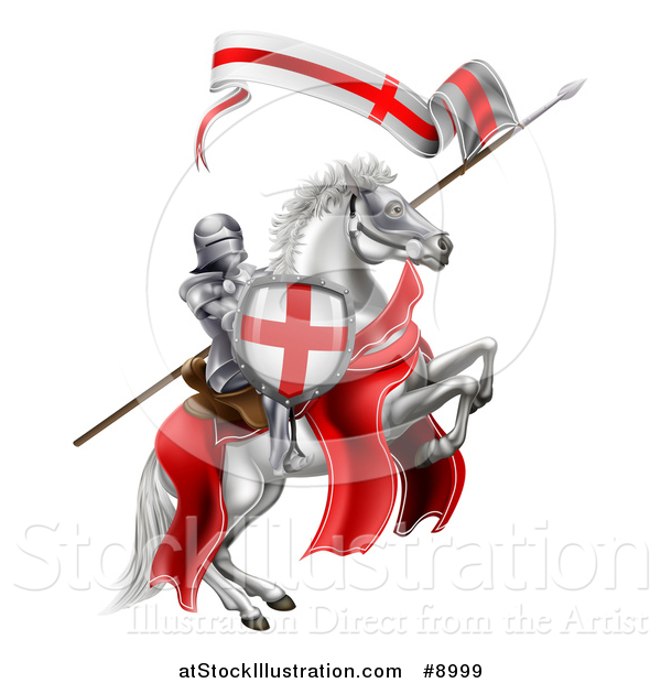 Vector Illustration of a Medieval Knight, Saint George, on a Rearing White Horse