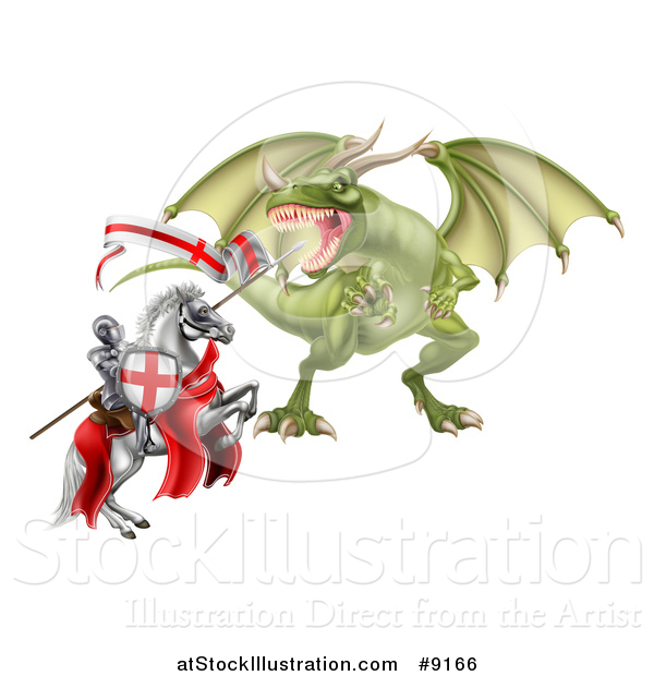 Vector Illustration of a Medieval Knight, Saint George, on a Rearing White Horse, Fighting a Dragon