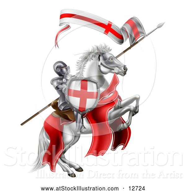 Vector Illustration of a Medieval Knight, Saint George, on a White Horse