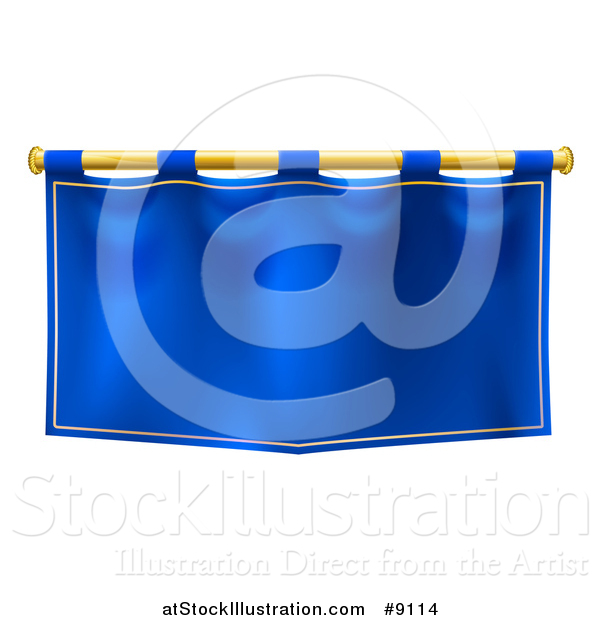 Vector Illustration of a Medieval Royal Blue Banner Falg on a Gold Rod