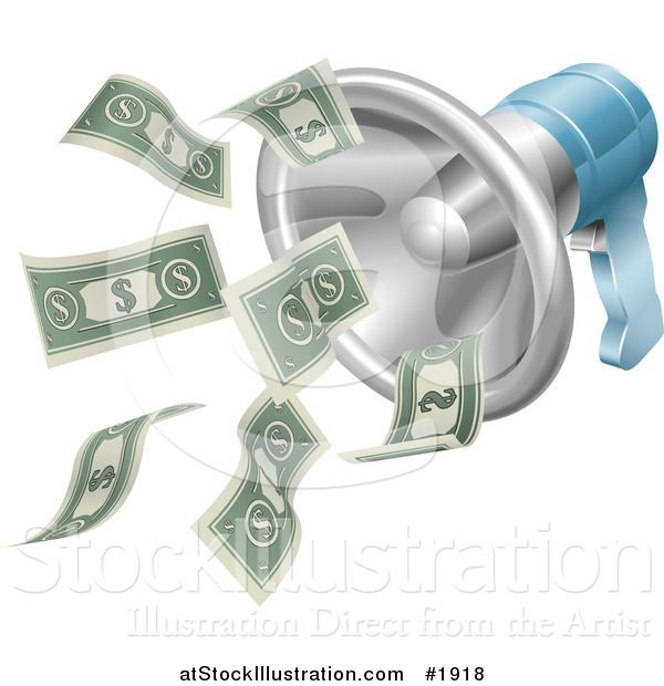 Vector Illustration of a Megaphone with Cash Money