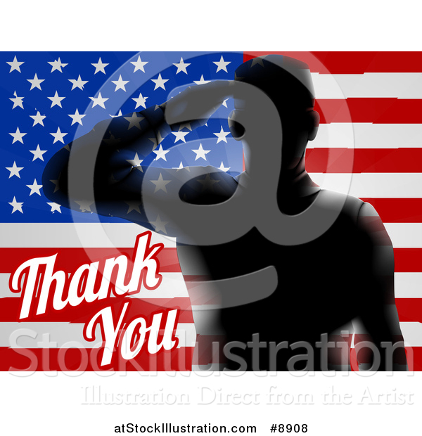 Vector Illustration of a Memorial Day Thank You Text with a Silhouetted Solder over an American Flag