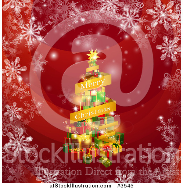 Vector Illustration of a Merry Christmas Banner and Tree of Gifts on Red with Snowflakes