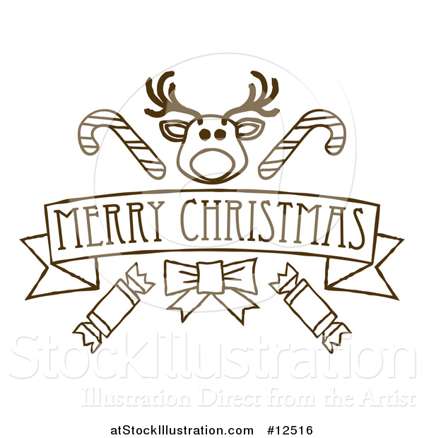 Vector Illustration of a Merry Christmas Banner Featuring Reindeer, Crackers and Candy Canes