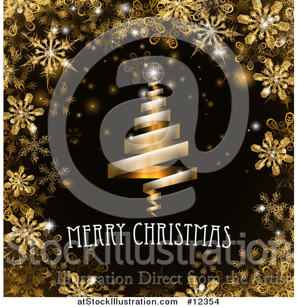 Vector Illustration of a Merry Christmas Greeting and Ribbon Tree in a Border of Golden Snowflakes