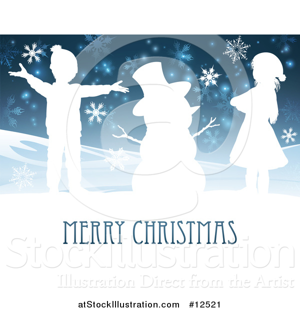 Vector Illustration of a Merry Christmas Greeting Featuring Happy Children Beside Snowman