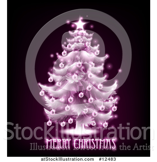 Vector Illustration of a Merry Christmas Greeting Under a Pink Glowing Tree on Black