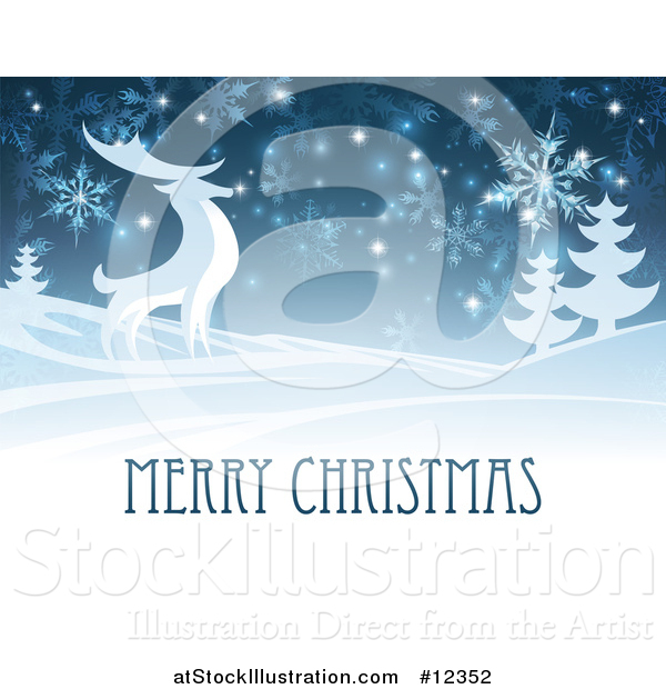 Vector Illustration of a Merry Christmas Greeting with a Reindeer in the Snow