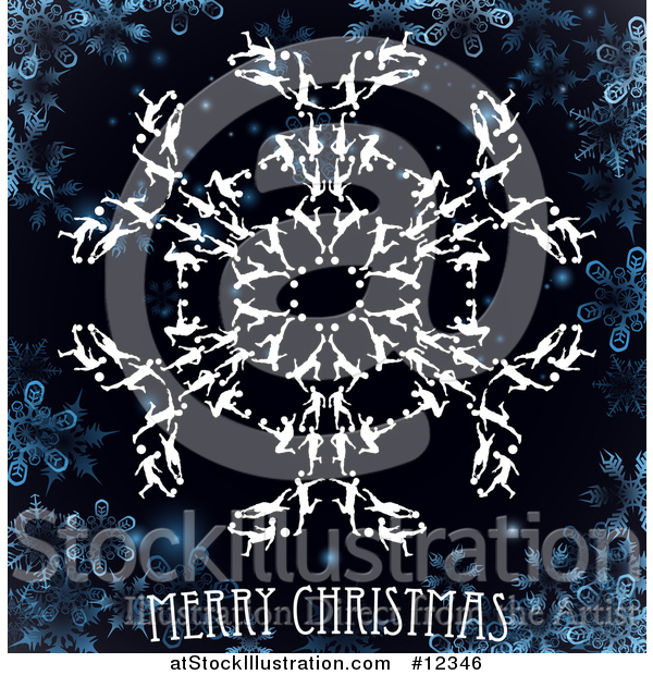 Vector Illustration of a Merry Christmas Greeting with Soccer Players Forming a Snowflake