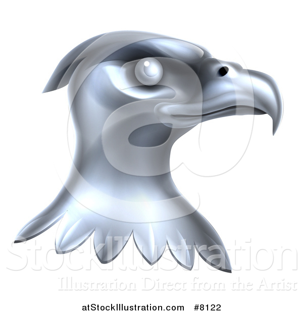 Vector Illustration of a Metal Silver Bald Eagle Head
