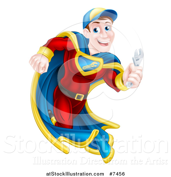 Vector Illustration of a Middle Aged Brunette Caucasian Male Super Hero Mechanic Running with a Wrench