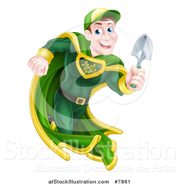 Vector Illustration of a Middle Aged Brunette Caucasian Male Super Hero Running with a Garden Trowel