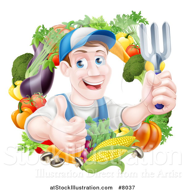 Vector Illustration of a Middle Aged Brunette White Male Gardener in Blue, Holding up a Garden Fork and Giving a Thumb up in a Wreath of Produce
