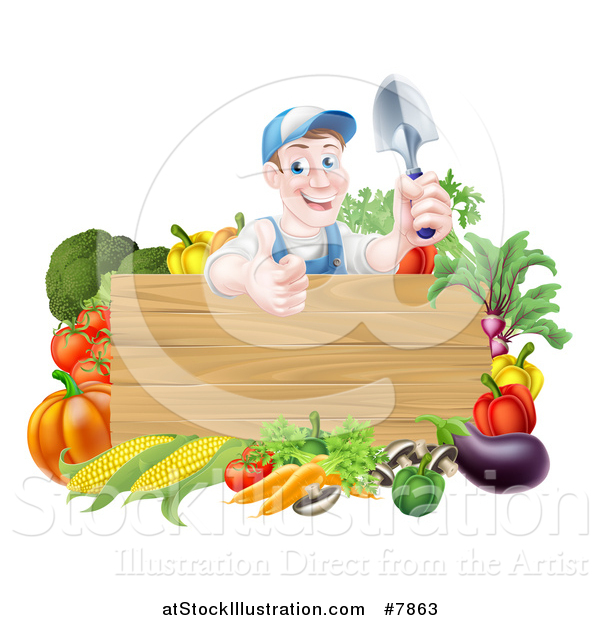 Vector Illustration of a Middle Aged Brunette White Male Gardener in Blue, Holding up a Garden Spade and Giving a Thumb up over a Blank Wood Sign with Produce