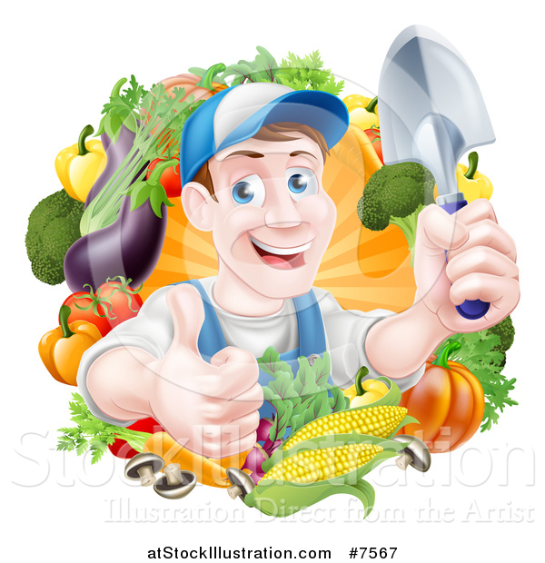 Vector Illustration of a Middle Aged Brunette White Male Gardener in Blue, Holding up a Shovel and Giving a Thumb up in a Wreath of Produce