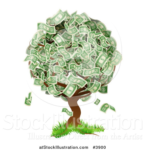 Vector Illustration of a Money Tree Abundant with Cash Foliage