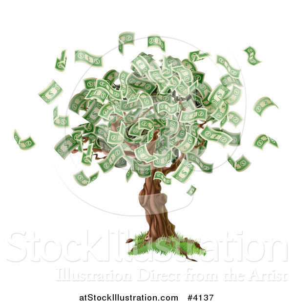 Vector Illustration of a Money Tree with Cash Falling off