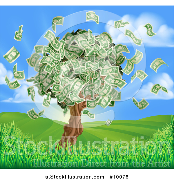 Vector Illustration of a Money Tree with Cash Falling off in a Hilly Landscape with a Sunrise