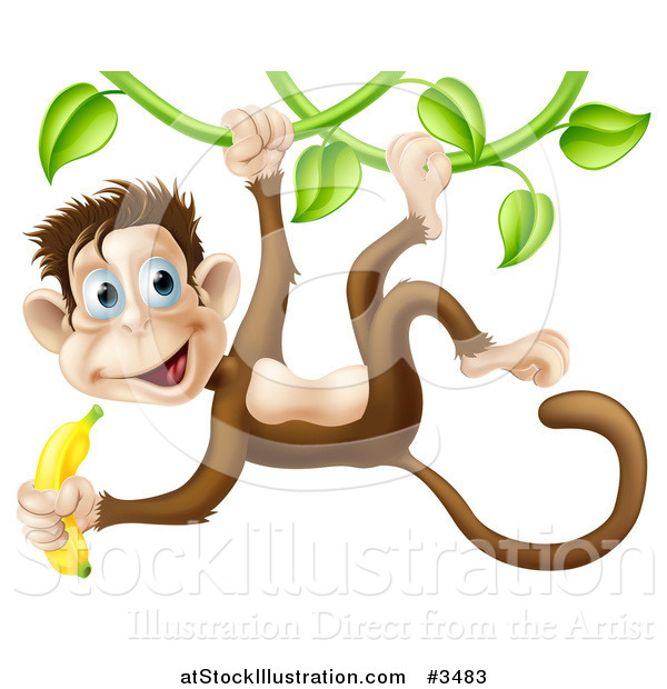 Vector Illustration of a Monkey Hanging from a Vine and Holding a Banana