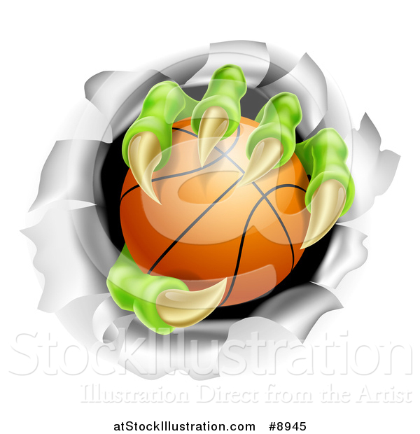 Vector Illustration of a Monster Claws Holding a Basketball and Ripping Through a Wall