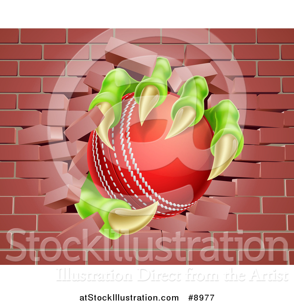 Vector Illustration of a Monster Claws Holding a Cricket Ball and Breaking Through a Brick Wall