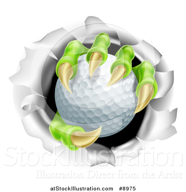 Vector Illustration of a Monster Claws Holding a Golf Ball and Ripping Through a Wall