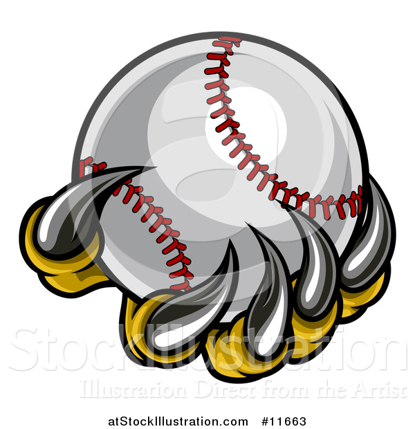 Vector Illustration of a Monster or Eagle Claws Holding a Baseball