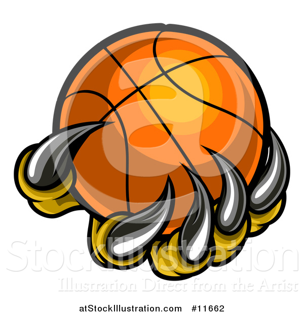 Vector Illustration of a Monster or Eagle Claws Holding a Basketball