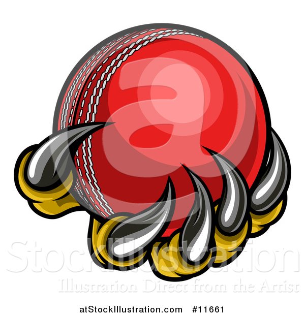 Vector Illustration of a Monster or Eagle Claws Holding a Cricket Ball