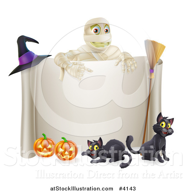 Vector Illustration of a Mummy over a Halloween Scroll Sign Black Cats and Pumpkins