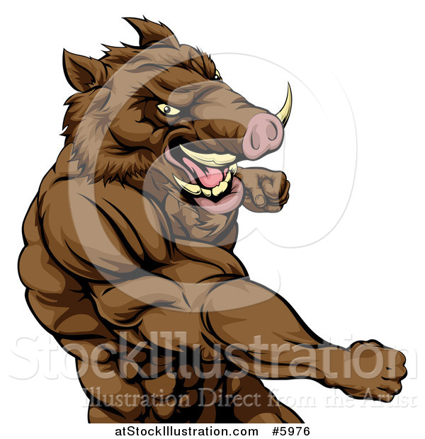 Vector Illustration of a Muscular Aggressive Boar Man Punching