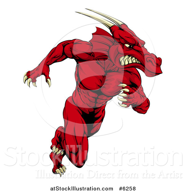 Vector Illustration of a Muscular Aggressive Red Dragon Man Mascot Running Upright