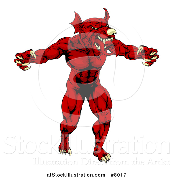 Vector Illustration of a Muscular Aggressive Red Welsh Dragon Man Mascot Walking Upright