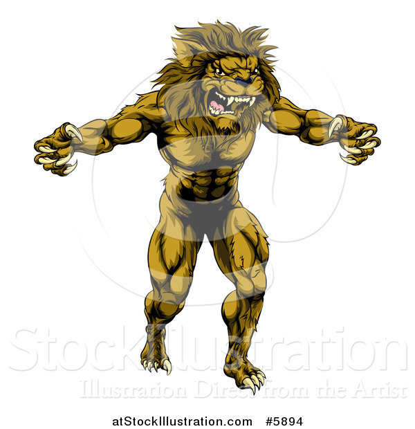 Vector Illustration of a Muscular Angry Lion Man Roaring with Claws Bared