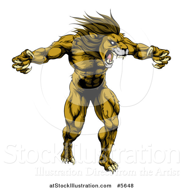 Vector Illustration of a Muscular Angry Lion Roaring with Claws Bared