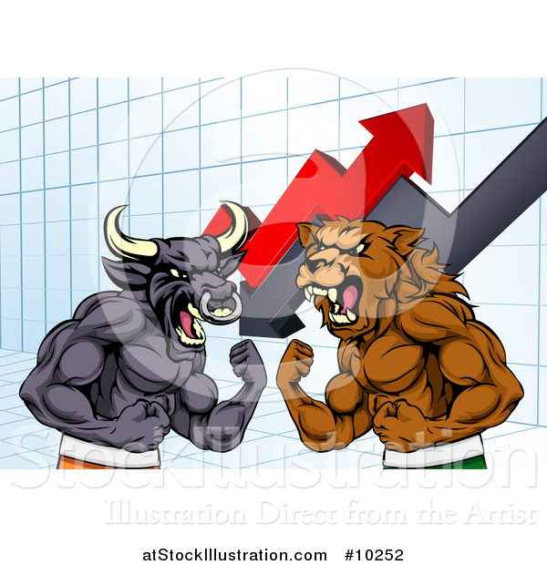 Vector Illustration of a Muscular Brown Bear Man and Angry Bull Ready to Fight over a Graph with Arrows