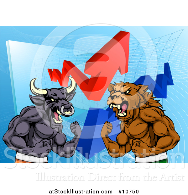 Vector Illustration of a Muscular Brown Bear Man and Bull Ready to Fight over a Graph with Arrows
