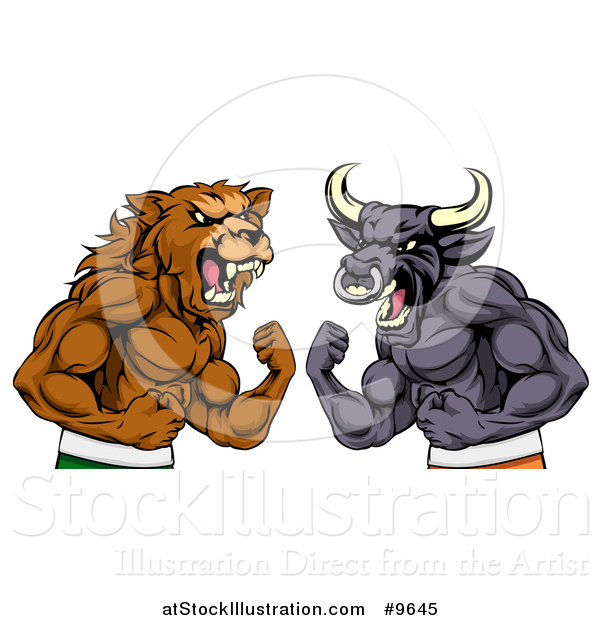 Vector Illustration of a Muscular Brown Bear Man and Bull Ready to Fight, Stock Market Metaphor
